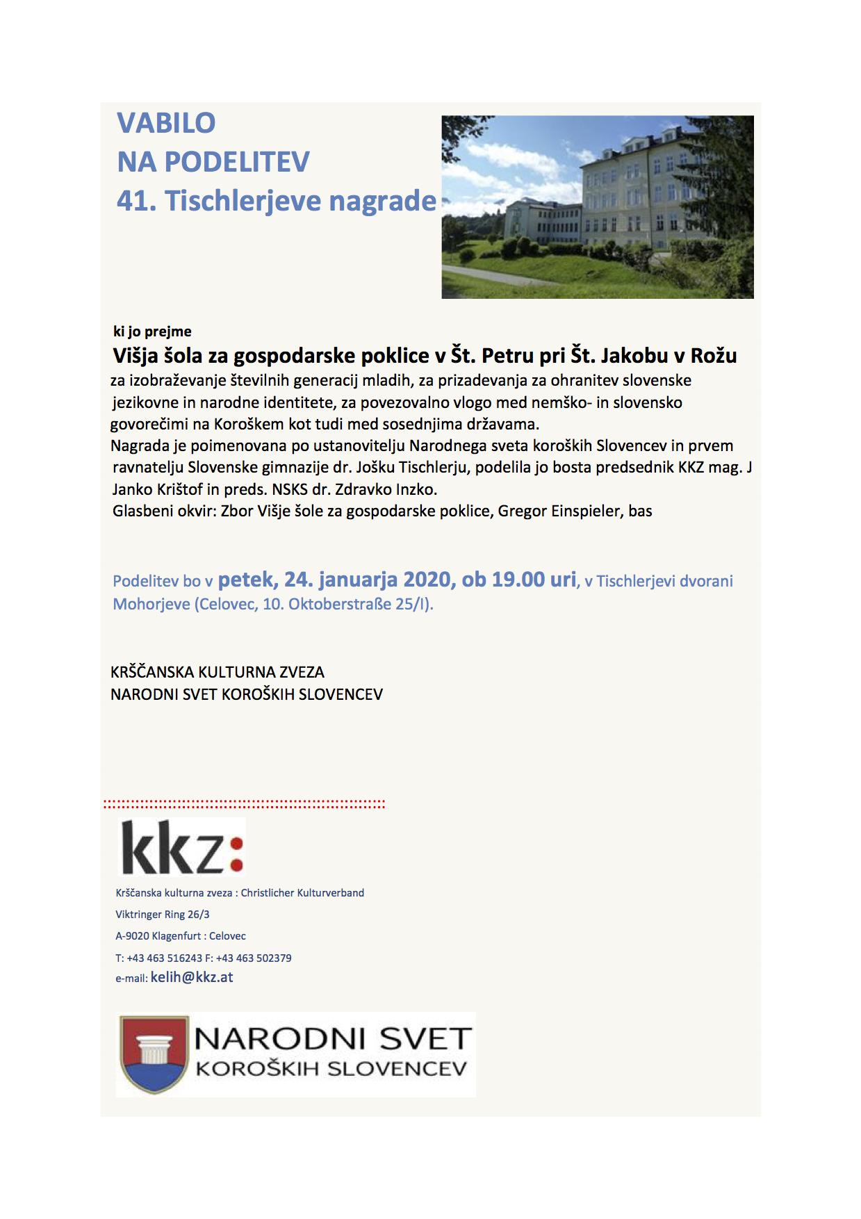 VABILO -Tischlerjeva nagrada_slo